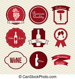 wine labels over beige background. vector illustration
