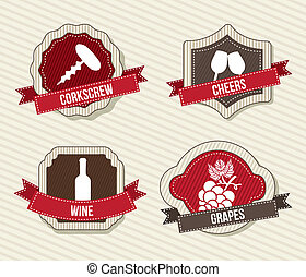 wine labels over beige background vector illustration