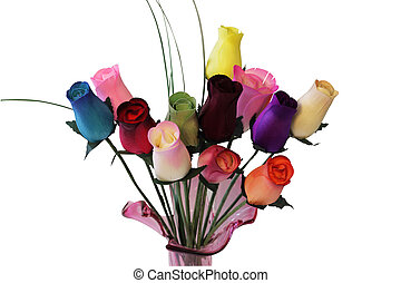 Dozen Of Wood Roses - A dozen of wood roses in vase