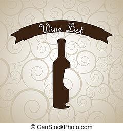 wine bottle over beige background. vector illustration