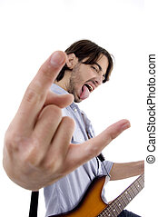 young rock star posing with guitar isolated on white...