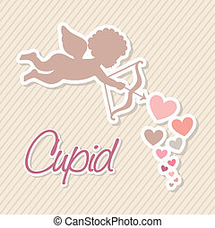 cupid vector - cupid isolated over beige background vector...