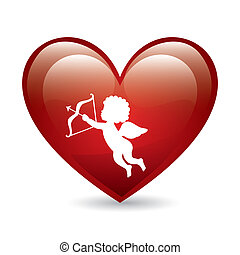 cupid vector - cupid and heart over white background vector...
