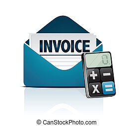 invoice and modern calculator illustration design over white