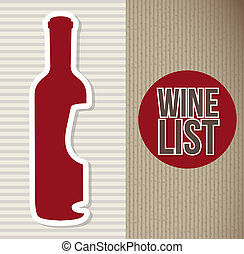 wine bottle over brown background. vector illustration