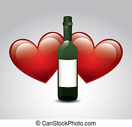 wine bottle over gray background vector illustration