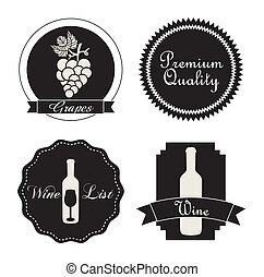 wine labels over white background vector illustration