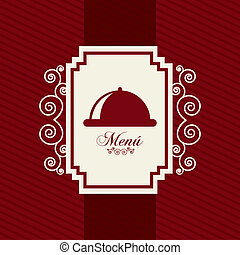 menu card - red menu card over red background. vector...