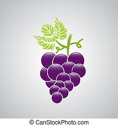 grape fruit over gray background. vector illustration