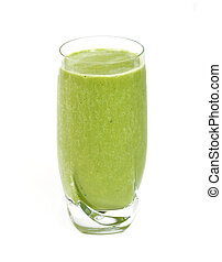 Green tea smoothie isolated on white background.