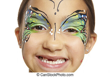 Young girl with face painting butterfly smiling on white...