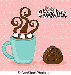 hot chocolated over pink background vector illustration