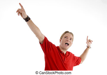 smart young man showing happy gesture on an isolated white...