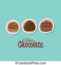 chocolate truffle set over white background vector...