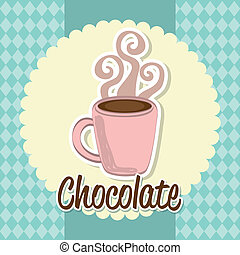 hot chocolated over blue background. vector illustration