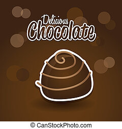 chocolate truffle over brown background. vector illustration