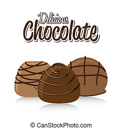 chocolate truffle set over white background. vector...