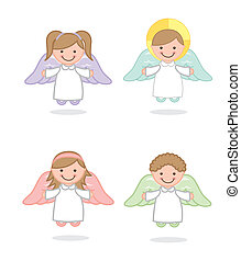 angel vector - angel cartoon over white background vector...