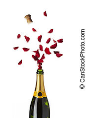 Bottle of champagne popping red rose petals with cork into the air on white background