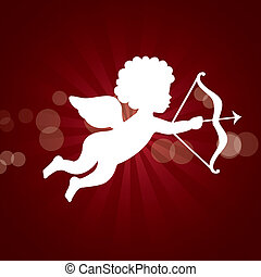 cupid vector - cupid isolated over red background vector...