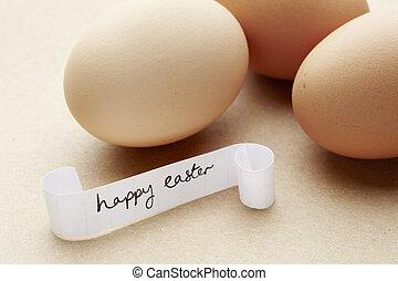 nachricht, Ostern, Eier, glücklich