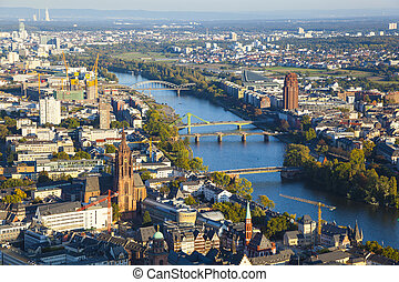 aerial of Frankfurt an Main with view to river Main in the...