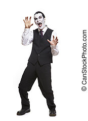 Man in dracula fancy dress costume on white background