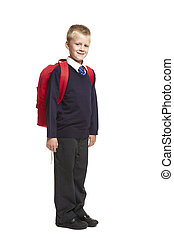 School boy with backpack - 8 year old school boy with...