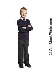 School boy with arms folded - 8 year old school boy arms...