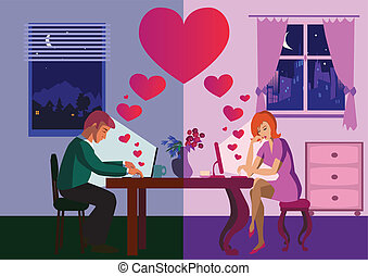 Internet - Lovers chatting over internet.Vector...