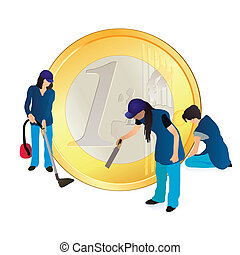 Three women cleaners and big Euro coin