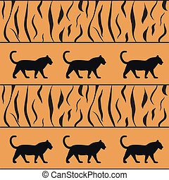 vector tiger background with silhouette