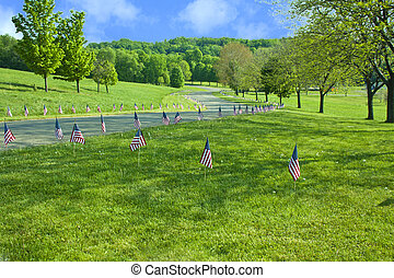 American Flags Line The Raod On Memorial Day - Landscape...