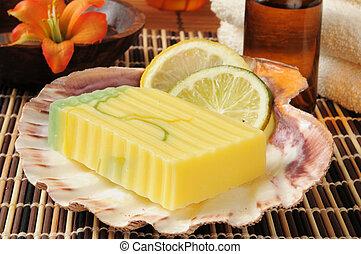 limão, lima, glicerina, sabonetes