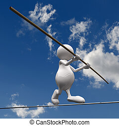 3D People walking on wire on blue sky background