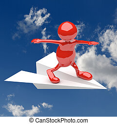 3D People with paper plane on blue sky background