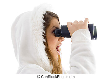 astonished female watching through binocular on an isolated...