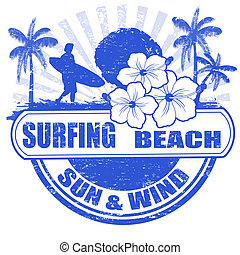 Surfing beach stamp - Surfing beach grunge rubber stamp with...