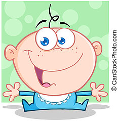 Funny Baby Boy With Open Arms Cartoon Character