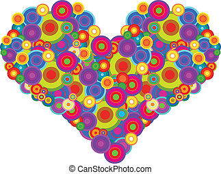 Groovy Heart - Retro Heart Made Of Multicolored Circles...
