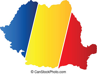 Romania Map With Flag On White Background
