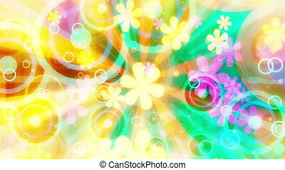 Multicolor Bright Retro Flowers Looping Animated Background...