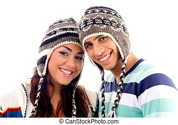 close up view of teens friends smiling and looking at camera...