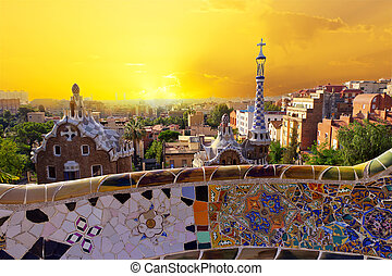 Park Guell in Barcelona, Spain - Park Guell museum designed...