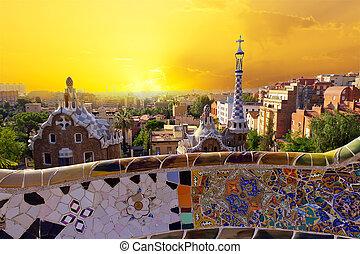 parque, Guell, Barcelona, españa