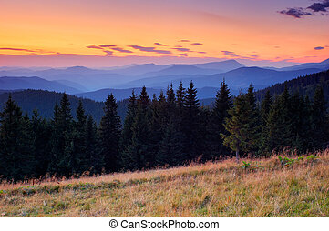 Landscape after sunset - Mountain landscape in windy weather...