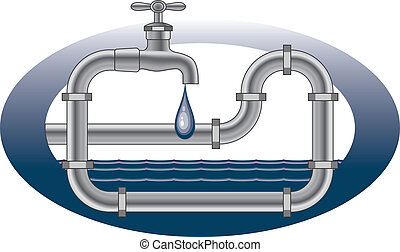 Dripping Faucet Plumbing Design - Illustration of a plumbing...