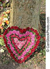 corazón, formado, condolencia, flores, rojo, rosa