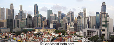 Singapore Skyline Along Chinatown Area - Singapore City...