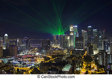 Singapore Central Business District Skyline and Laser Light...